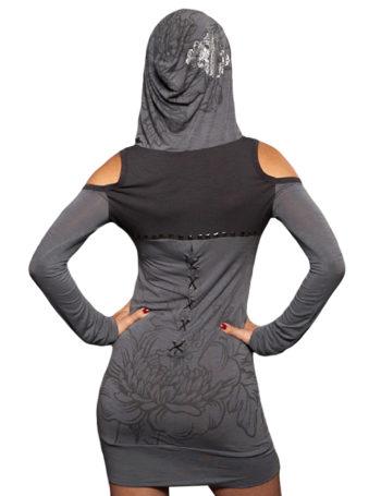 Dámské šaty Rebel Spirit rozkvetlá dýka (šedé)