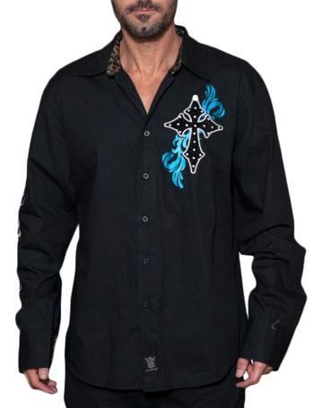 Pánská košile Rebel Spirit zářící kříž (černá)