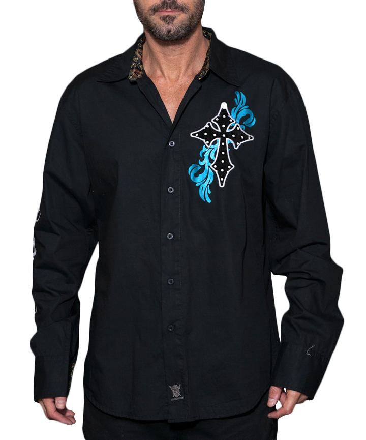 Pánská košile Rebel Spirit zářící kříž (černá)  3179ae068f