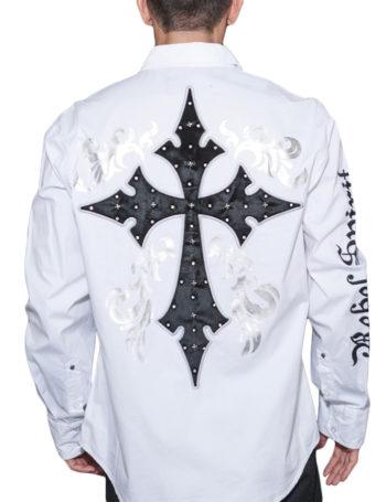 Pánská košile Rebel Spirit zářící kříž (bílá)