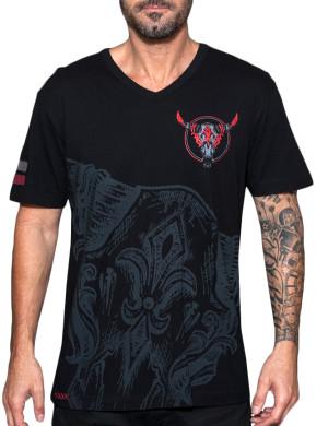 Pánské tričko Rebel Spirit ohnivá lebka býka