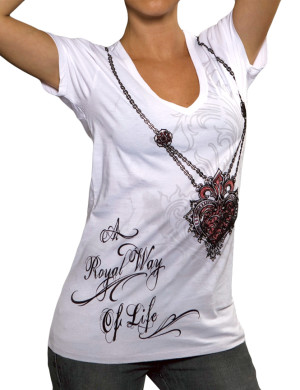 Dámské tričko Rebel Spirit srdce s náhrdelníkem