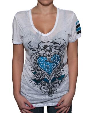 Dámské tričko Rebel Spirit srdce v růžích