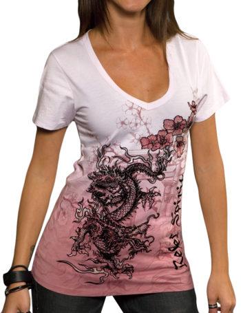 Dámské tričko Rebel Spirit drak s květy (růžové)