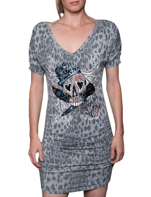 Dámské šaty Rebel Spirit lebka s korunou