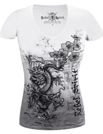 Dámské tričko Rebel Spirit drak s květy (šedé)