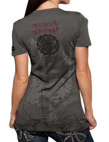 Dámské tričko Rebel Spirit gejša s křídly orlice (šedé)