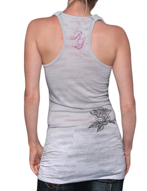 Dámské šaty Rebel Spirit lebka a růže (světle šedé)