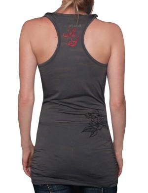 Dámské šaty Rebel Spirit lebka a růže (tmavě šedé)