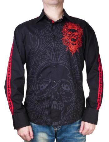 Pánská košile Rebel Spirit lebka v plamenech