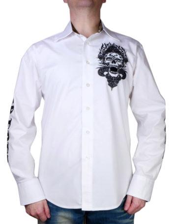 Pánská košile Rebel Spirit lebka v plamenech (bílá)