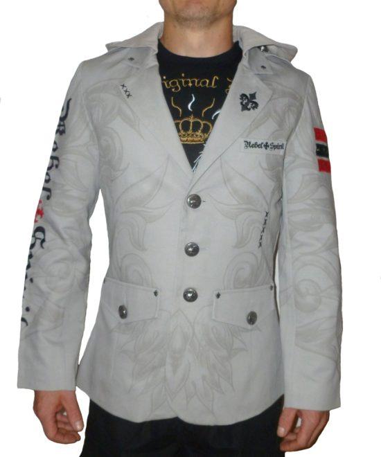 0316c0064b Pánské sako Rebel Spirit černá lilie s kapucí ...