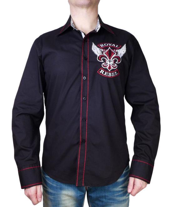 Pánská košile Rebel Spirit Royal Rebel lilie s křídly ... 867f8871d6