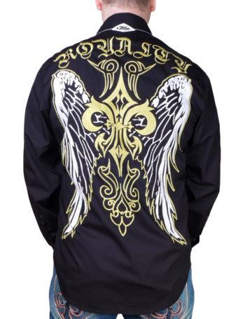 Pánská košile Rebel Spirit královská lilie s křídly (černá)