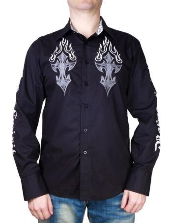 Pánská košile Rebel Spirit kříž v plamenech