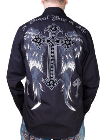 Pánská košile Rebel Spirit kříž s křídly (černá)