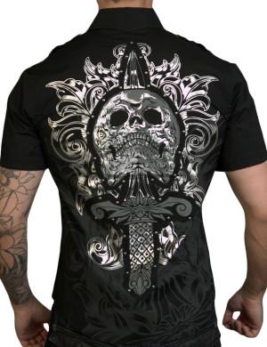 Pánská košile Rebel Spirit lebka s dýkou (černá)
