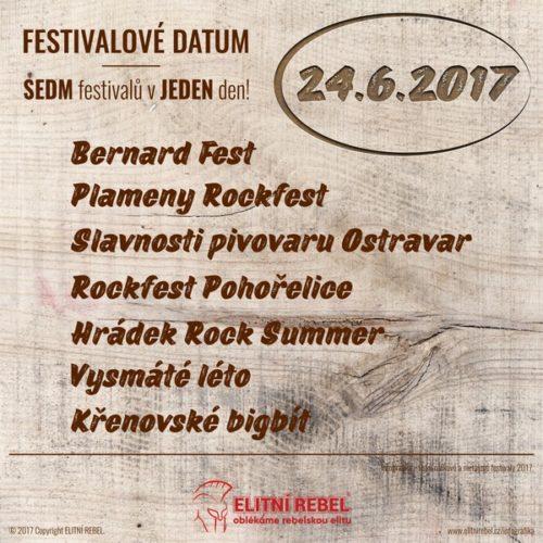 Elitní Rebel Festivaly 2017 infografika Festivalový den F