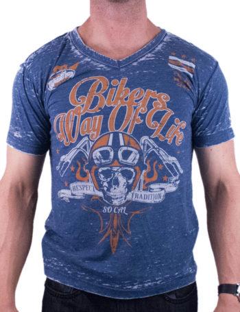 Pánské tričko Rebel Spirit Bikers Way Of Life RSSK151695-NAVY