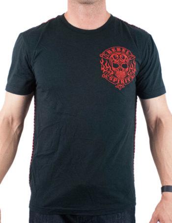 Pánské tričko Rebel Spirit lebka v plamenech SSK141710-BLK