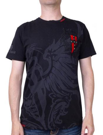 Pánské tričko Rebel Spirit lebka s křídly SSK141674-BLK