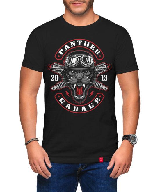 04877035a166 Pánské motorkářské tričko Panther Garage ...